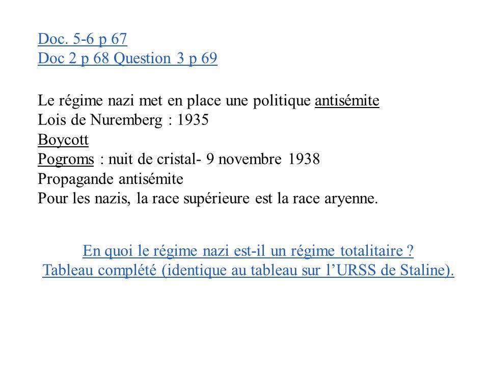 Doc 2 p 68 Question 2 p 69 La propagande présente Hitler comme le guide de lAllemagne. La croix gammée devient le symbole nazi et Mein Kampf, la « bib