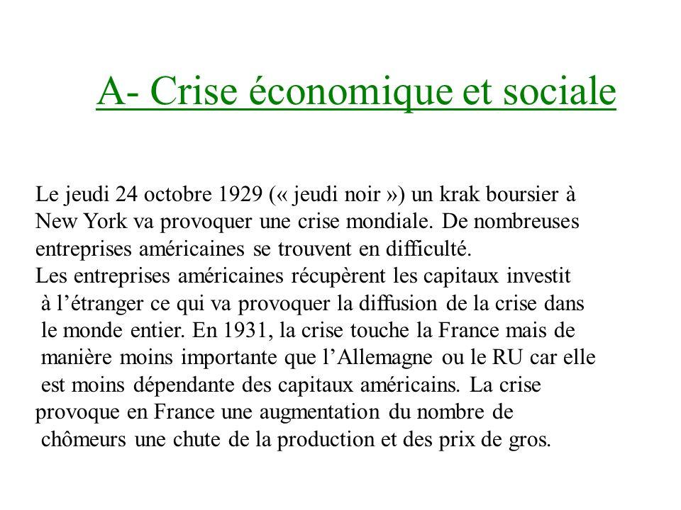 A- Crise économique et sociale Le jeudi 24 octobre 1929 (« jeudi noir ») un krak boursier à New York va provoquer une crise mondiale.