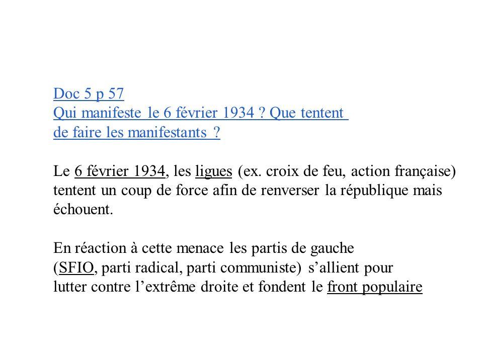 Doc 5 p 57 Qui manifeste le 6 février 1934 .Que tentent de faire les manifestants .