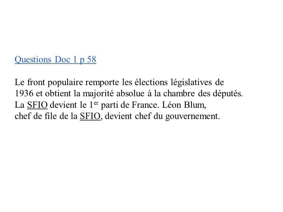 Questions Doc 1 p 58 Le front populaire remporte les élections législatives de 1936 et obtient la majorité absolue à la chambre des députés.