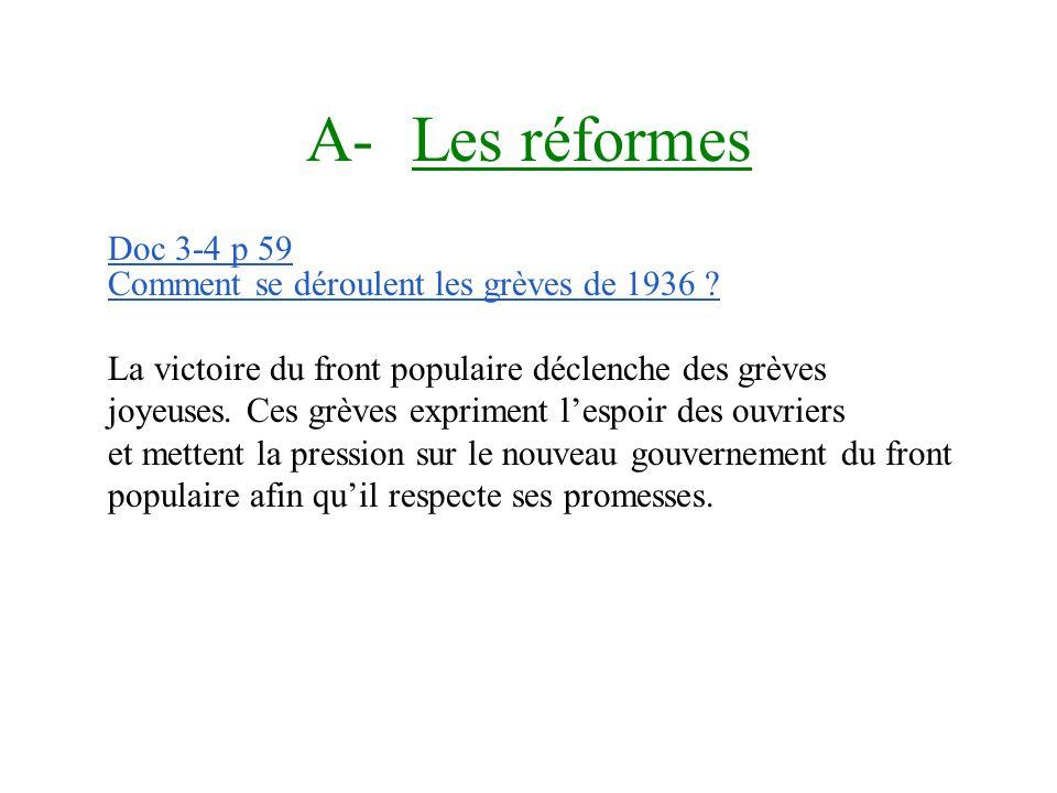 Questions Doc 1 p 58 Le front populaire remporte les élections législatives de 1936 et obtient la majorité absolue à la chambre des députés. La SFIO d