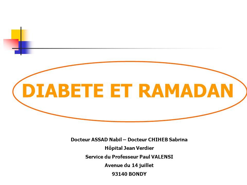 DIABETE ET RAMADAN Docteur ASSAD Nabil – Docteur CHIHEB Sabrina Hôpital Jean Verdier Service du Professeur Paul VALENSI Avenue du 14 juillet 93140 BON