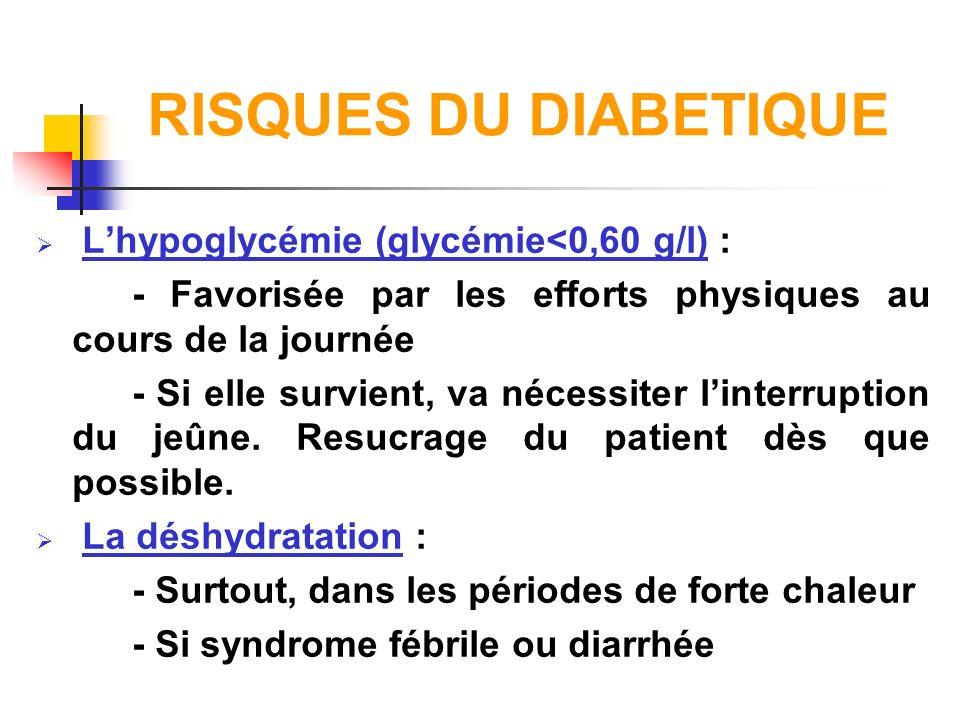 RISQUES DU DIABETIQUE Lhypoglycémie (glycémie<0,60 g/l) : - Favorisée par les efforts physiques au cours de la journée - Si elle survient, va nécessit