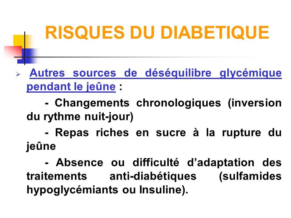 RISQUES DU DIABETIQUE Autres sources de déséquilibre glycémique pendant le jeûne : - Changements chronologiques (inversion du rythme nuit-jour) - Repa