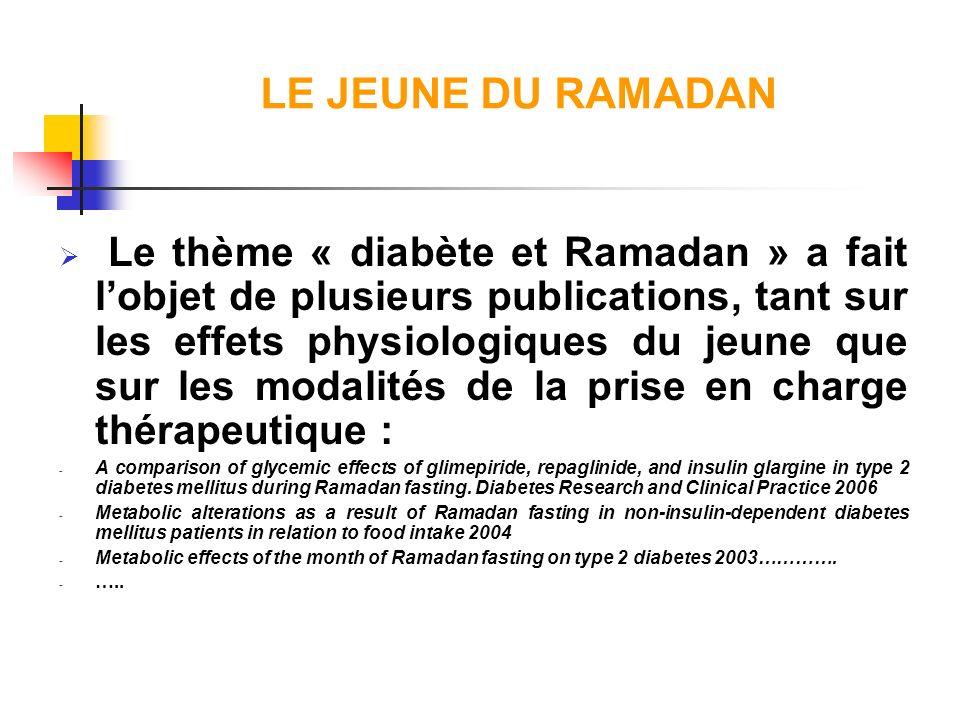 LE JEUNE DU RAMADAN Le thème « diabète et Ramadan » a fait lobjet de plusieurs publications, tant sur les effets physiologiques du jeune que sur les m