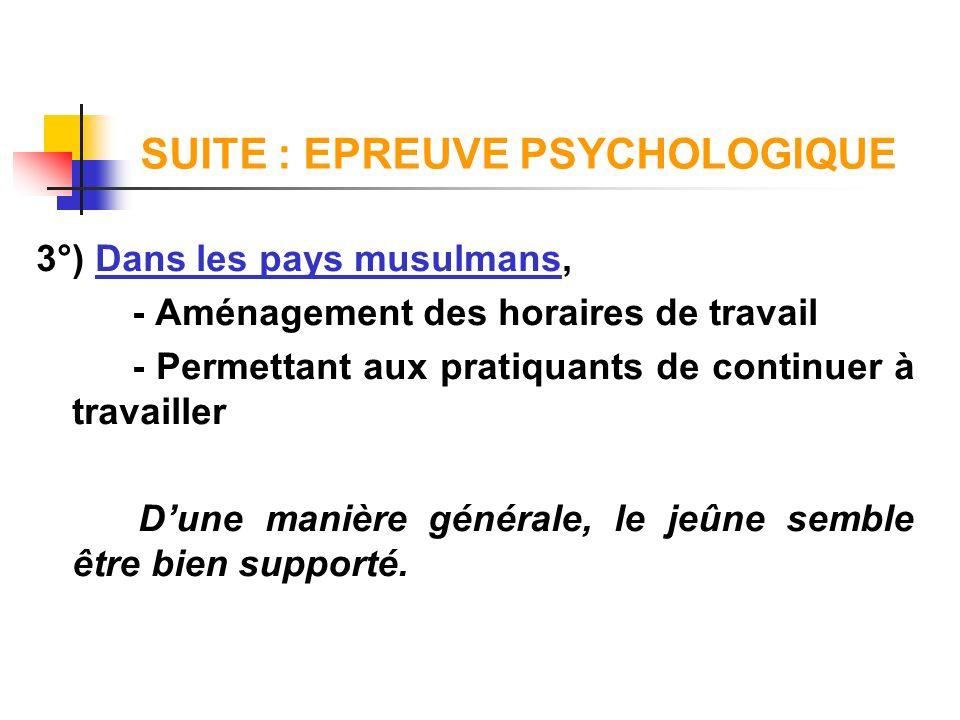SUITE : EPREUVE PSYCHOLOGIQUE 3°) Dans les pays musulmans, - Aménagement des horaires de travail - Permettant aux pratiquants de continuer à travaille