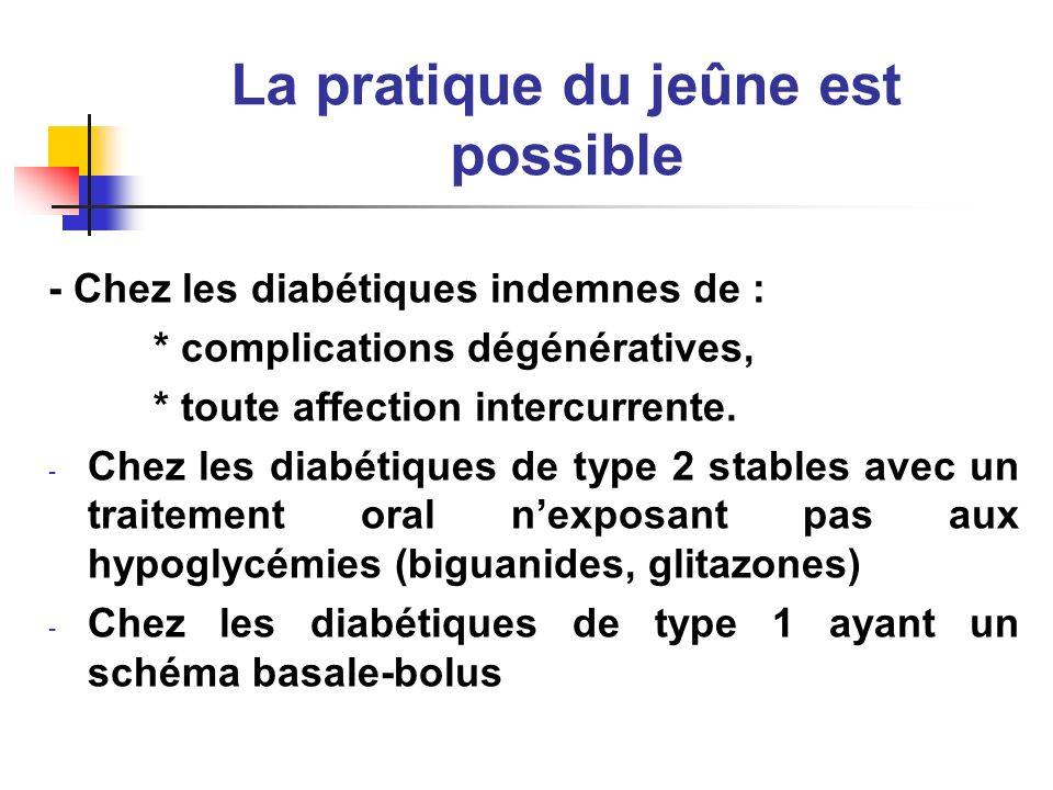 La pratique du jeûne est possible - Chez les diabétiques indemnes de : * complications dégénératives, * toute affection intercurrente. - Chez les diab
