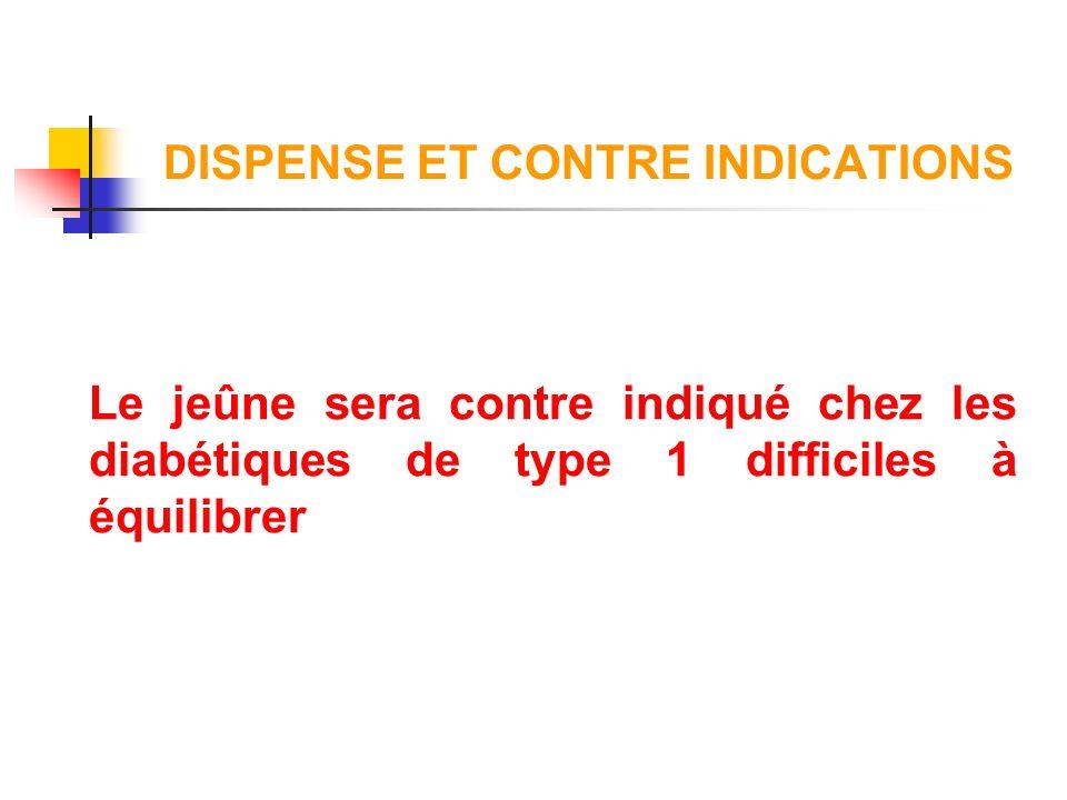 DISPENSE ET CONTRE INDICATIONS Le jeûne sera contre indiqué chez les diabétiques de type 1 difficiles à équilibrer