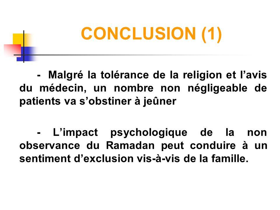 CONCLUSION (1) - Malgré la tolérance de la religion et lavis du médecin, un nombre non négligeable de patients va sobstiner à jeûner - Limpact psychol