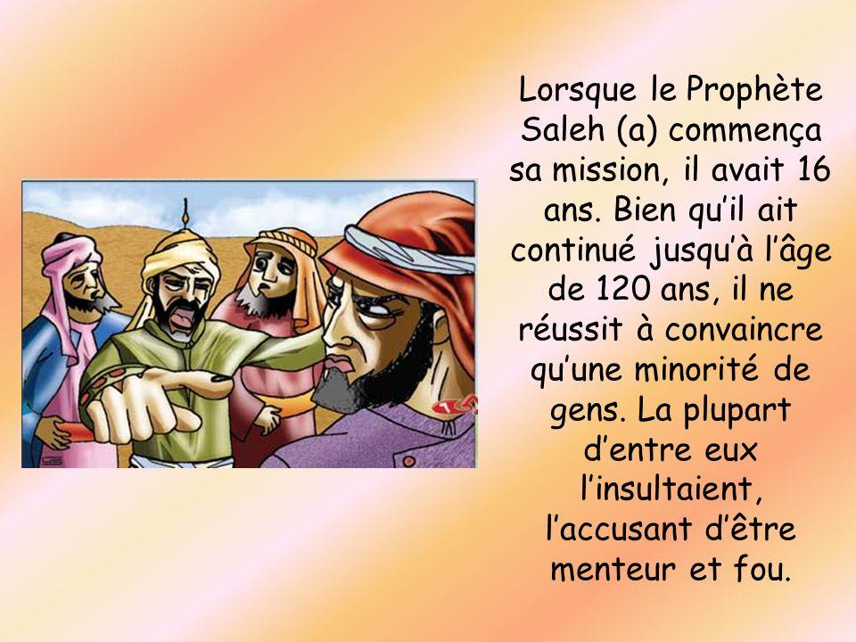 Lorsque le Prophète Saleh (a) commença sa mission, il avait 16 ans. Bien quil ait continué jusquà lâge de 120 ans, il ne réussit à convaincre quune mi