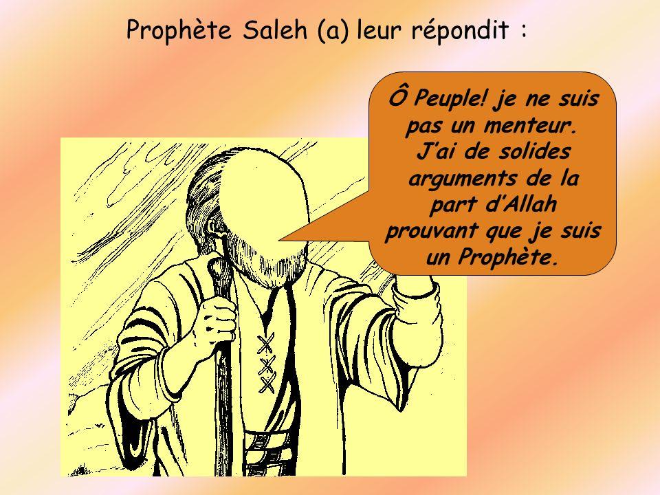 Prophète Saleh (a) leur répondit : Ô Peuple! je ne suis pas un menteur. Jai de solides arguments de la part dAllah prouvant que je suis un Prophète.