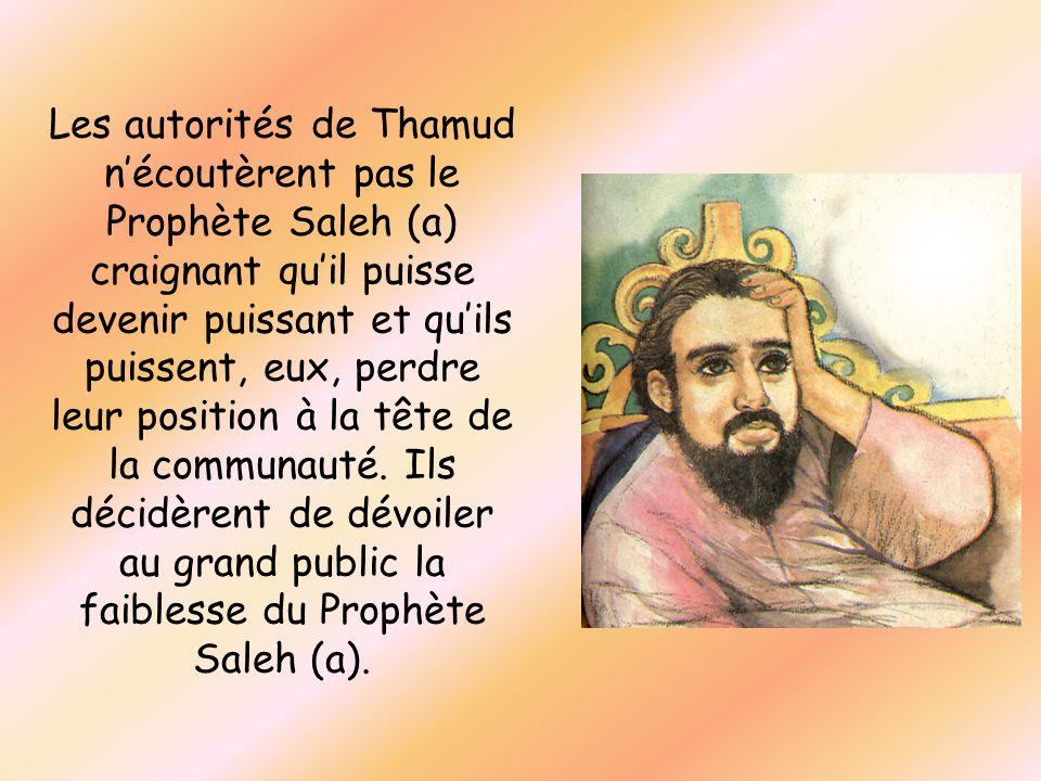 Les autorités de Thamud nécoutèrent pas le Prophète Saleh (a) craignant quil puisse devenir puissant et quils puissent, eux, perdre leur position à la