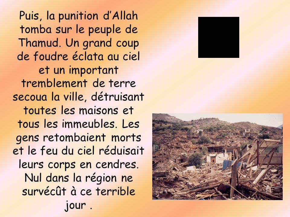 Puis, la punition dAllah tomba sur le peuple de Thamud. Un grand coup de foudre éclata au ciel et un important tremblement de terre secoua la ville, d