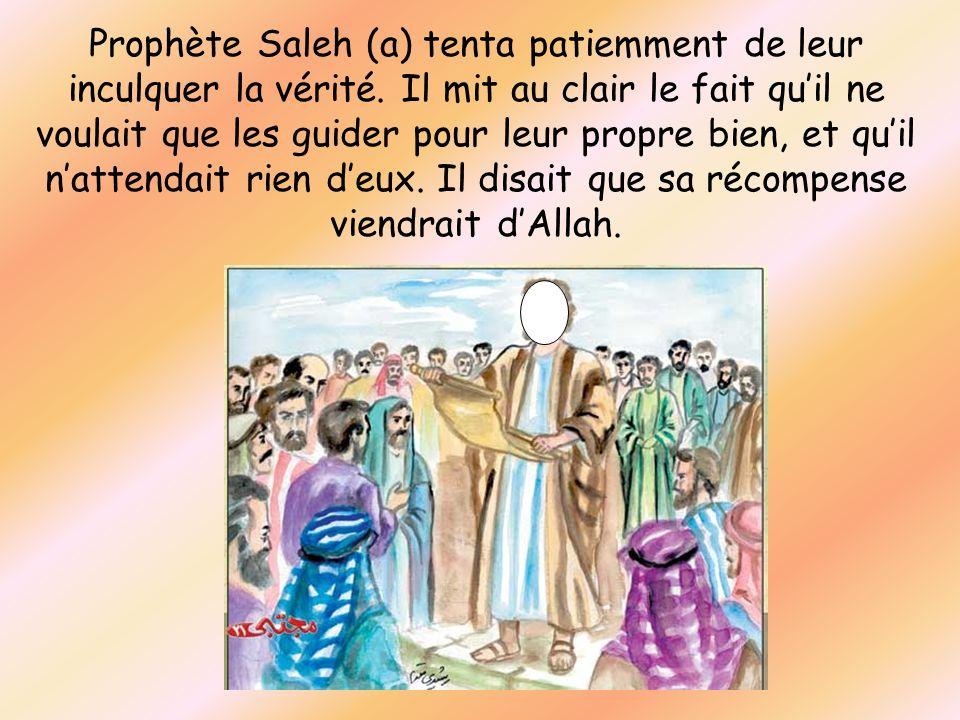 Prophète Saleh (a) tenta patiemment de leur inculquer la vérité. Il mit au clair le fait quil ne voulait que les guider pour leur propre bien, et quil