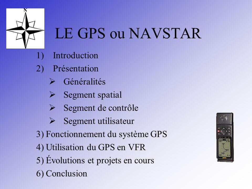 LE GPS ou NAVSTAR 1)Introduction 2)Présentation Généralités Segment spatial Segment de contrôle Segment utilisateur 3) Fonctionnement du système GPS 4