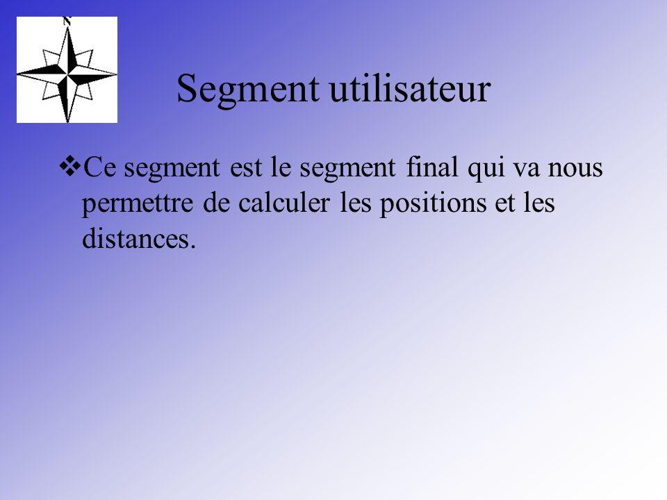 Segment utilisateur Ce segment est le segment final qui va nous permettre de calculer les positions et les distances.