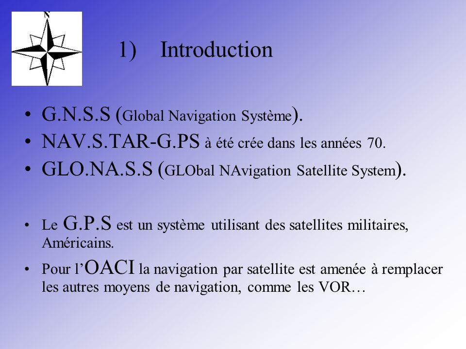 1)Introduction G.N.S.S ( Global Navigation Système ). NAV.S.TAR-G.PS à été crée dans les années 70. GLO.NA.S.S ( GLObal NAvigation Satellite System ).