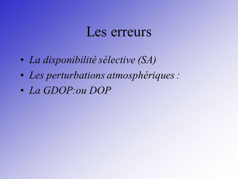 Les erreurs La disponibilité sélective (SA) Les perturbations atmosphériques : La GDOP:ou DOP