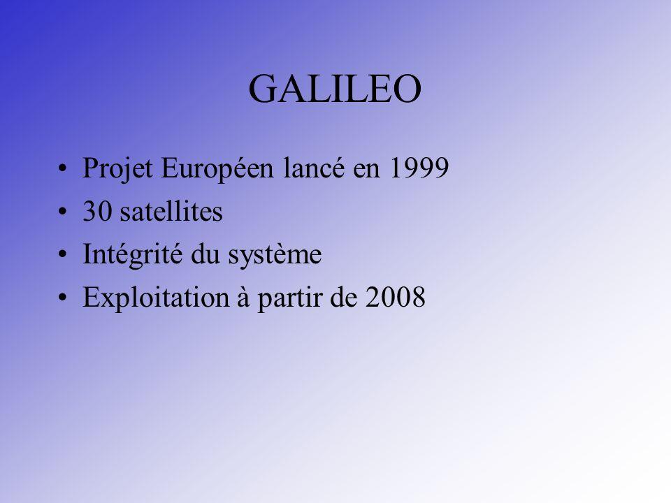 GALILEO Projet Européen lancé en 1999 30 satellites Intégrité du système Exploitation à partir de 2008