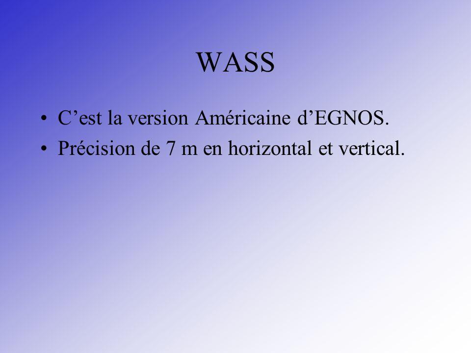 WASS Cest la version Américaine dEGNOS. Précision de 7 m en horizontal et vertical.