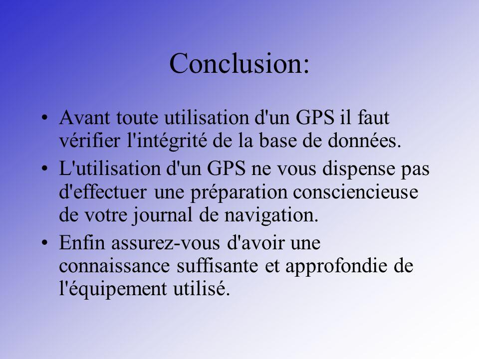 Conclusion: Avant toute utilisation d'un GPS il faut vérifier l'intégrité de la base de données. L'utilisation d'un GPS ne vous dispense pas d'effectu