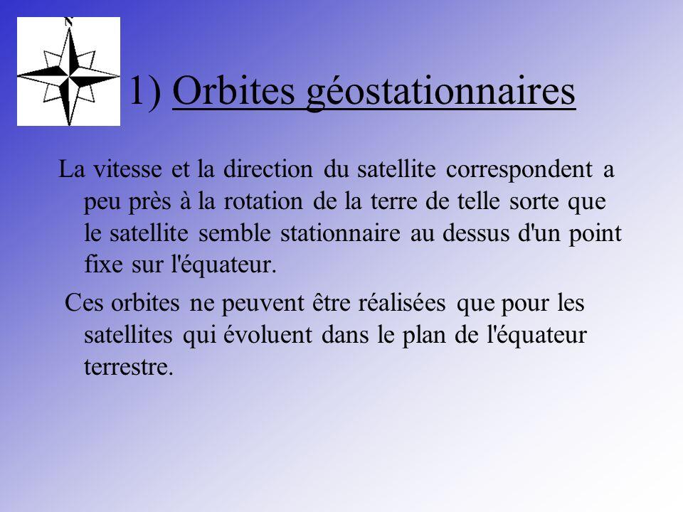 1) Orbites géostationnaires La vitesse et la direction du satellite correspondent a peu près à la rotation de la terre de telle sorte que le satellite