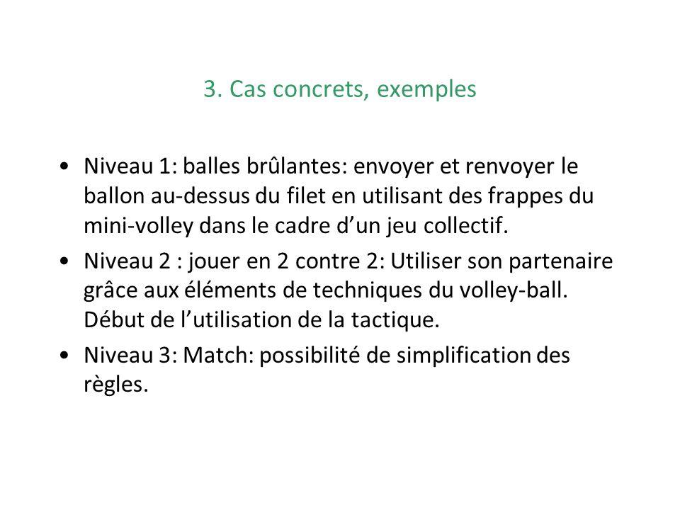 3. Cas concrets, exemples Niveau 1: balles brûlantes: envoyer et renvoyer le ballon au-dessus du filet en utilisant des frappes du mini-volley dans le