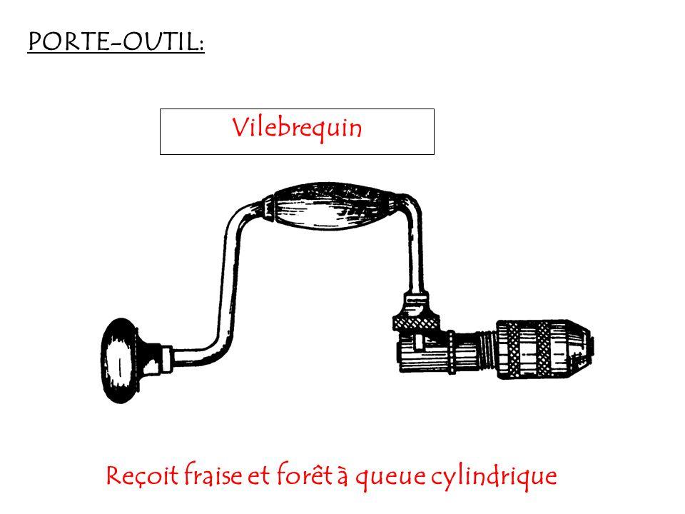 PORTE-OUTIL: Vilebrequin Reçoit fraise et forêt à queue cylindrique