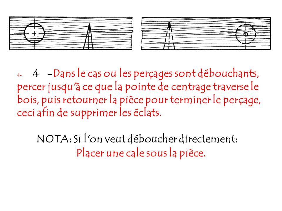 4- 4 -Dans le cas ou les perçages sont débouchants, percer jusqu'à ce que la pointe de centrage traverse le bois, puis retourner la pièce pour termine