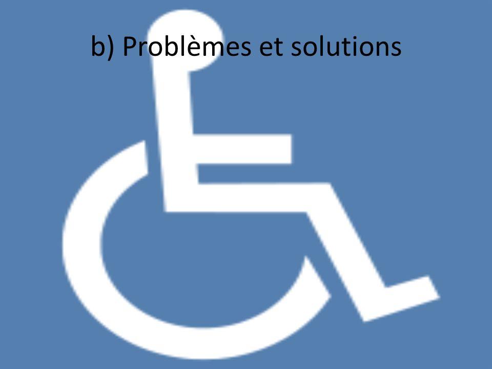 b) Problèmes et solutions Handicap moteur Handicap sensoriel