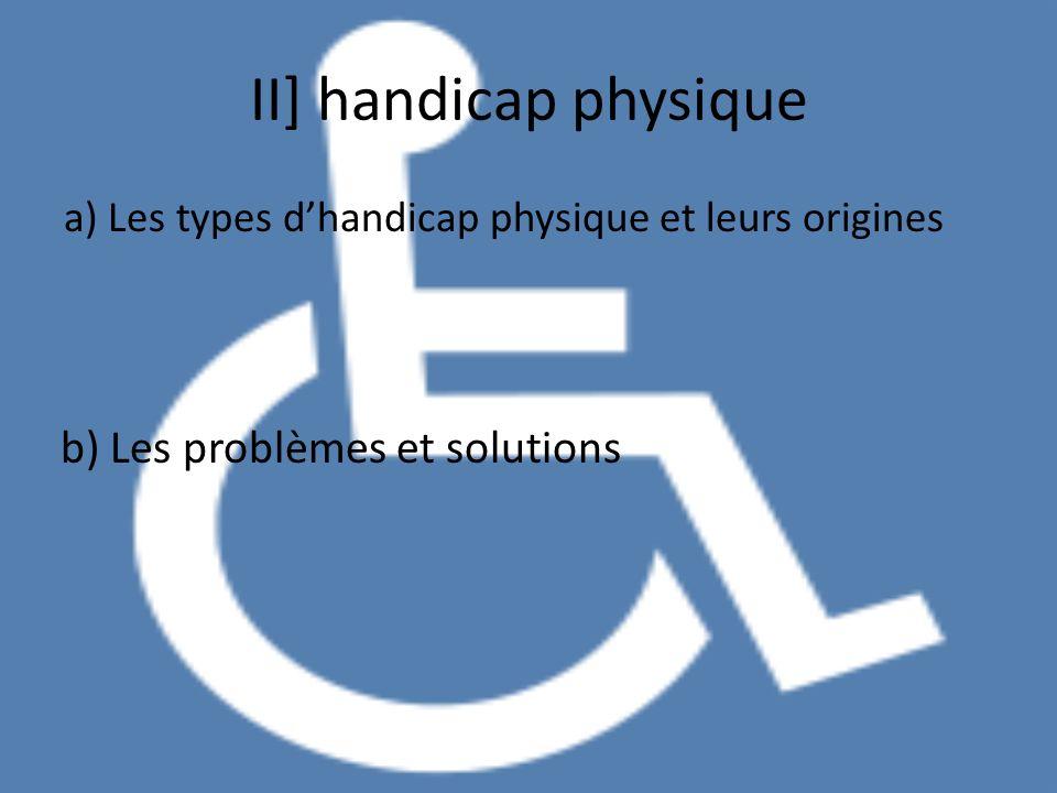 II] handicap physique a) Les types dhandicap physique et leurs origines b) Les problèmes et solutions