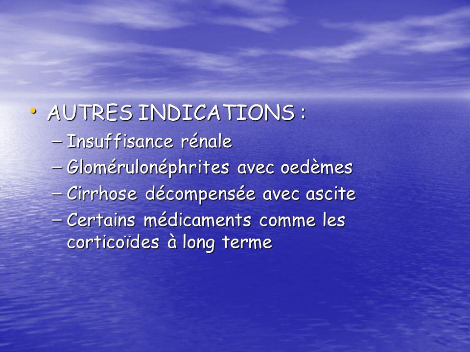 AUTRES INDICATIONS : AUTRES INDICATIONS : – Insuffisance rénale – Glomérulonéphrites avec oedèmes – Cirrhose décompensée avec ascite – Certains médica