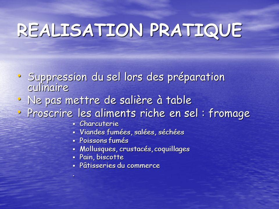 REALISATION PRATIQUE Suppression du sel lors des préparation culinaire Suppression du sel lors des préparation culinaire Ne pas mettre de salière à ta