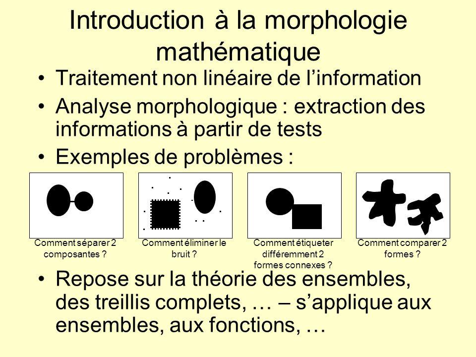 Comment séparer 2 composantes ? Introduction à la morphologie mathématique Traitement non linéaire de linformation Analyse morphologique : extraction