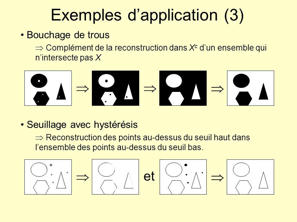 Erodé ultime : définition / algorithme Cas général (binaire) Ensemble des composantes connexes de X disparaissant à litération suivante lors dune séquence dérosions par un élément structurant élémentaire B 1 Pour chaque pixel (non déjà dans érodé ultime) disparaissant à litération t, calculer la composante connexe à t-1 et tester si tous les pixels ont effectivement disparus à t.
