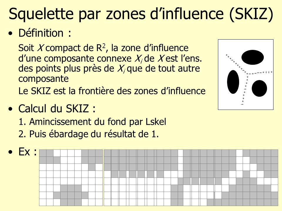 Squelette par zones dinfluence (SKIZ) Définition : Soit X compact de R 2, la zone dinfluence dune composante connexe X i de X est lens. des points plu
