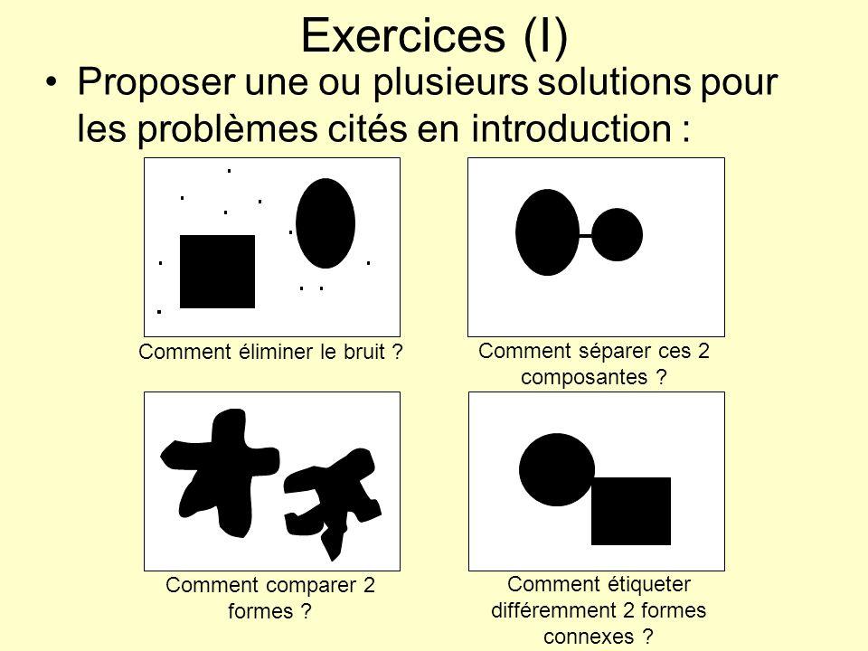 Exercices (I) Proposer une ou plusieurs solutions pour les problèmes cités en introduction : Comment éliminer le bruit ? Comment séparer ces 2 composa