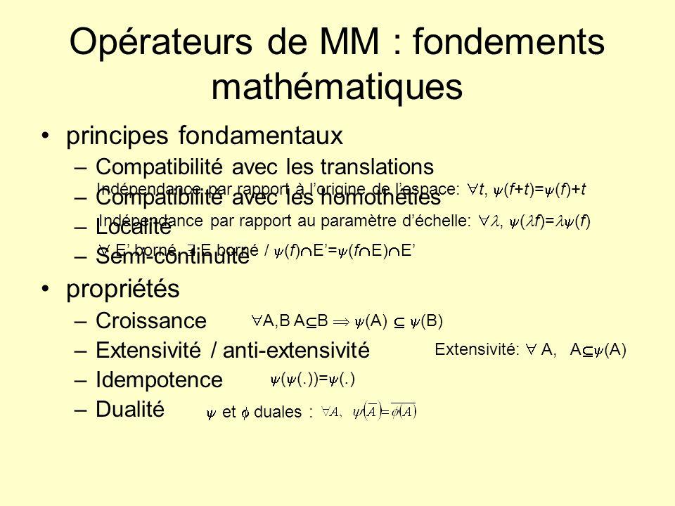 Erosion / dilatation : définitions (1) Élément structurant B relations de lobjet X avec lélément (taille, forme données) Addition de Minkowski : Union des translatés de X par chaque point de B propriétés : commutative, associative, croissante, élément neutre Soustraction de Minkowski : Intersection des translatés de X par chaque point de B propriétés : non commutative, associative, croissante, élément neutre Ө