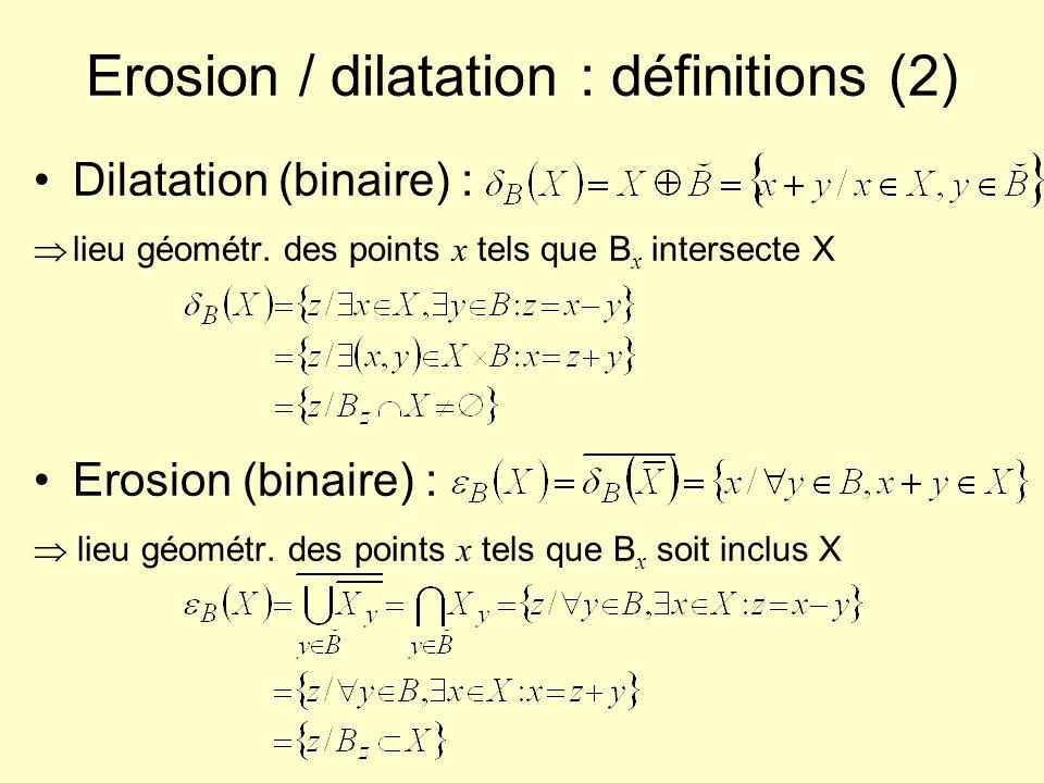 Erosion / dilatation : propriétés (1) Croissance par rapport à X En effet : Extensivité / anti-extensivité (si centre de B inclus dans B) Croissance / décroissance par rapport à B En effet :
