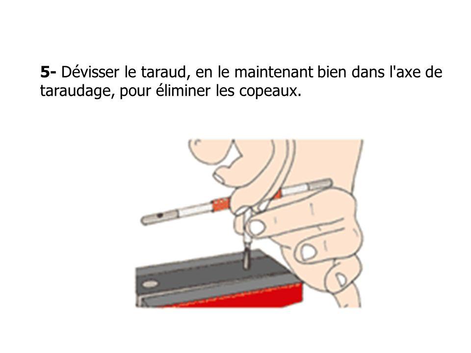 5- Dévisser le taraud, en le maintenant bien dans l'axe de taraudage, pour éliminer les copeaux.