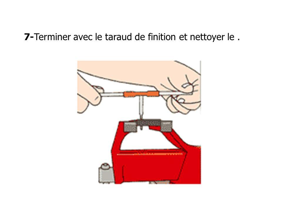 7-Terminer avec le taraud de finition et nettoyer le.