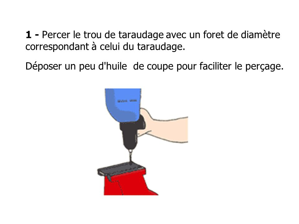 1 - Percer le trou de taraudage avec un foret de diamètre correspondant à celui du taraudage. Déposer un peu d'huile de coupe pour faciliter le perçag