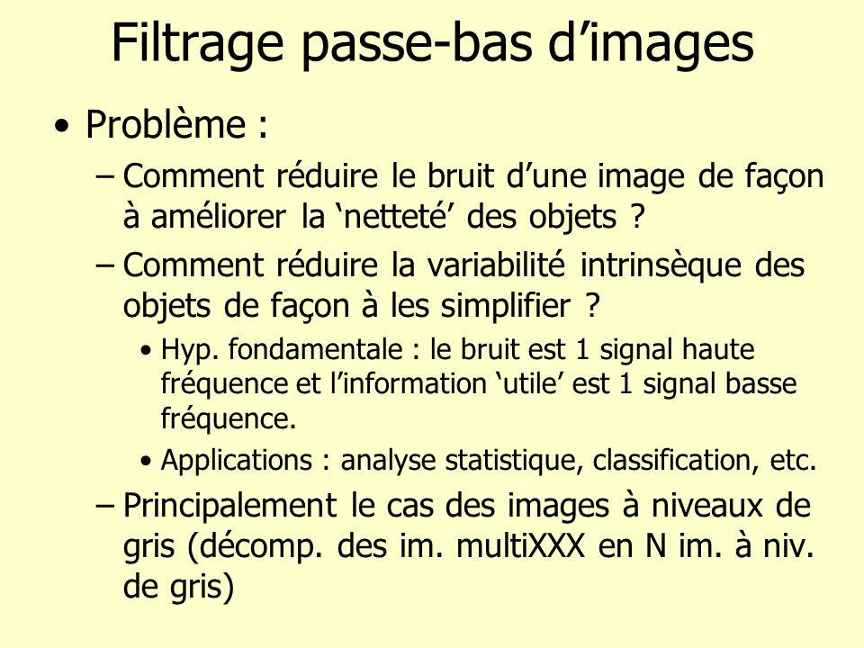 Filtrage passe-bas dimages Problème : –Comment réduire le bruit dune image de façon à améliorer la netteté des objets ? –Comment réduire la variabilit