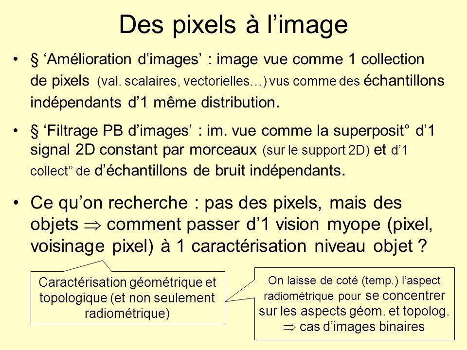 Des pixels à limage § Amélioration dimages : image vue comme 1 collection de pixels (val. scalaires, vectorielles…) vus comme des échantillons indépen
