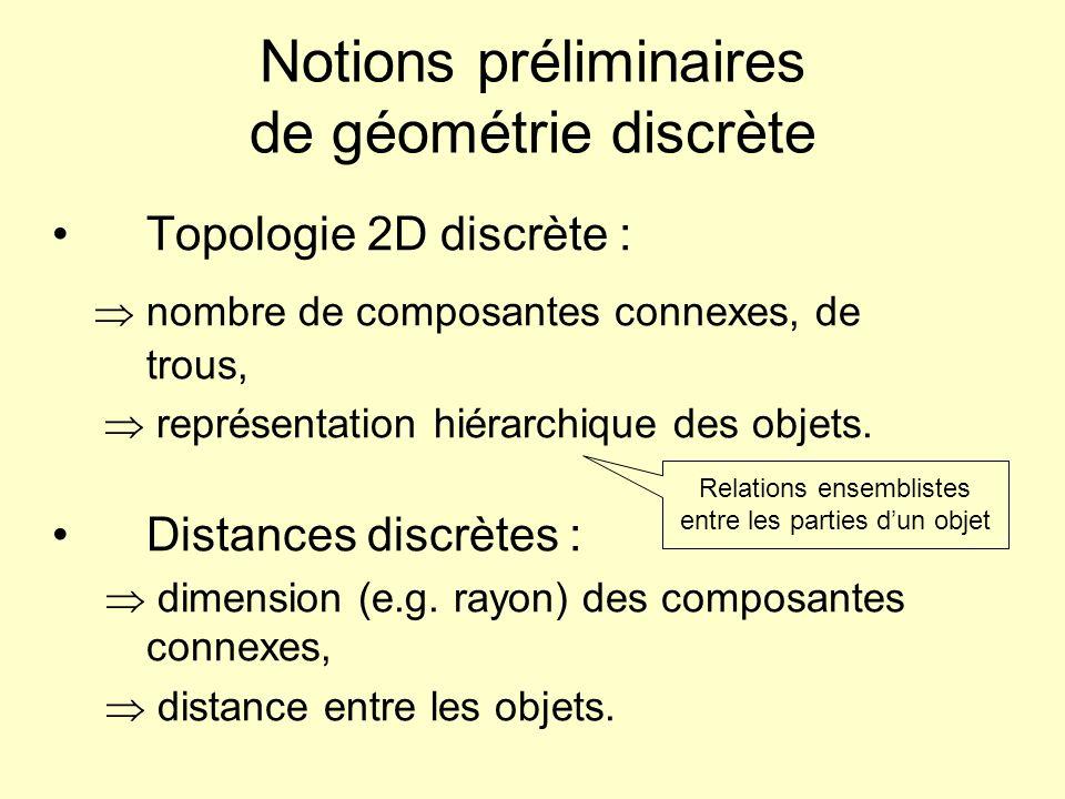 Notions préliminaires de géométrie discrète Topologie 2D discrète : nombre de composantes connexes, de trous, représentation hiérarchique des objets.
