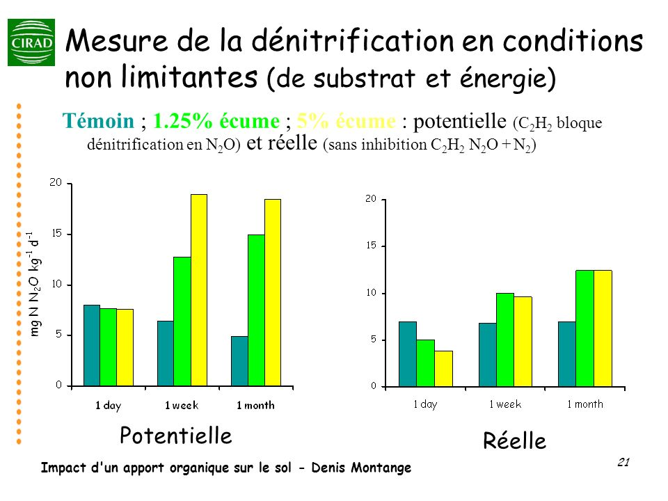 Impact d'un apport organique sur le sol - Denis Montange 21 Mesure de la dénitrification en conditions non limitantes (de substrat et énergie) Témoin