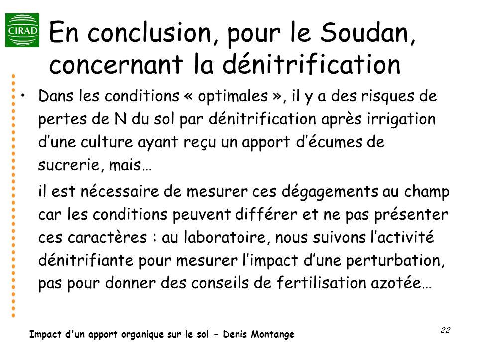 Impact d'un apport organique sur le sol - Denis Montange 22 En conclusion, pour le Soudan, concernant la dénitrification Dans les conditions « optimal