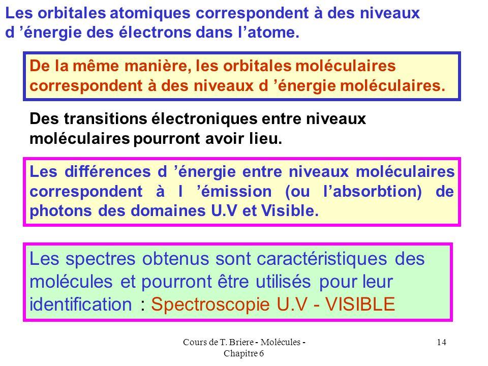 Cours de T. Briere - Molécules - Chapitre 6 13 Par convention les orbitales sont désignées par la lettre ou et on met une étoile * en exposant pour le