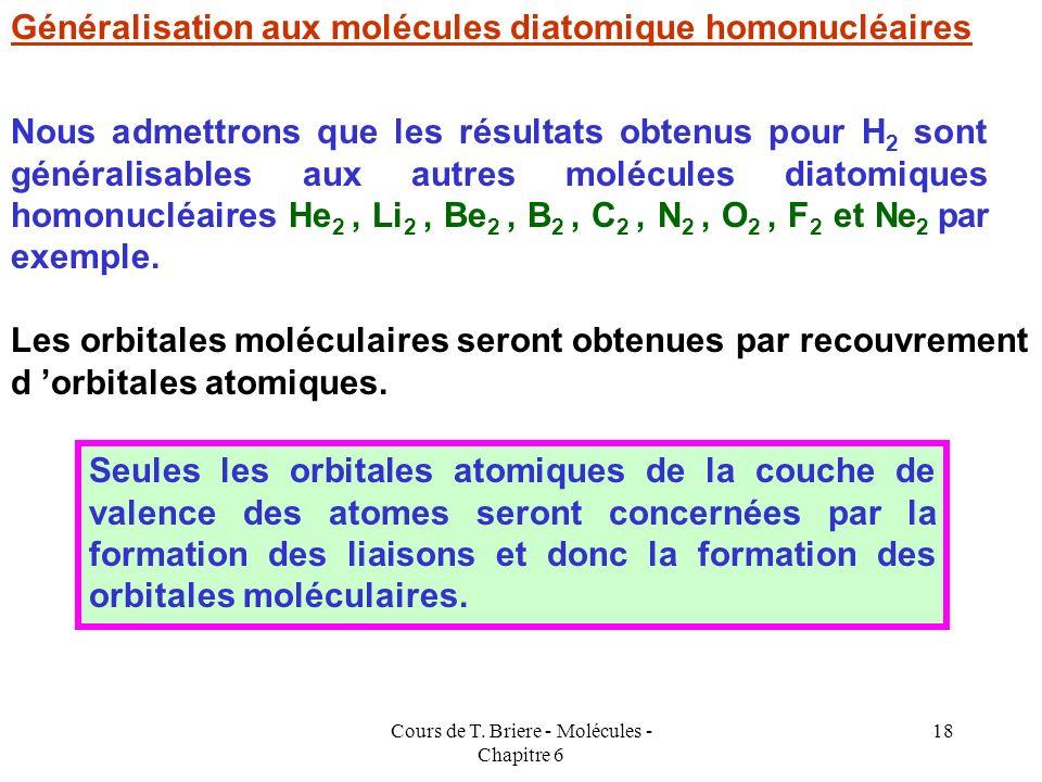 Cours de T. Briere - Molécules - Chapitre 6 17 E liante E anti-liante E* E E H A E H B E * > E * Atome A Atome B Molécule AB n l = 1/2 ( n - n* ) L'én