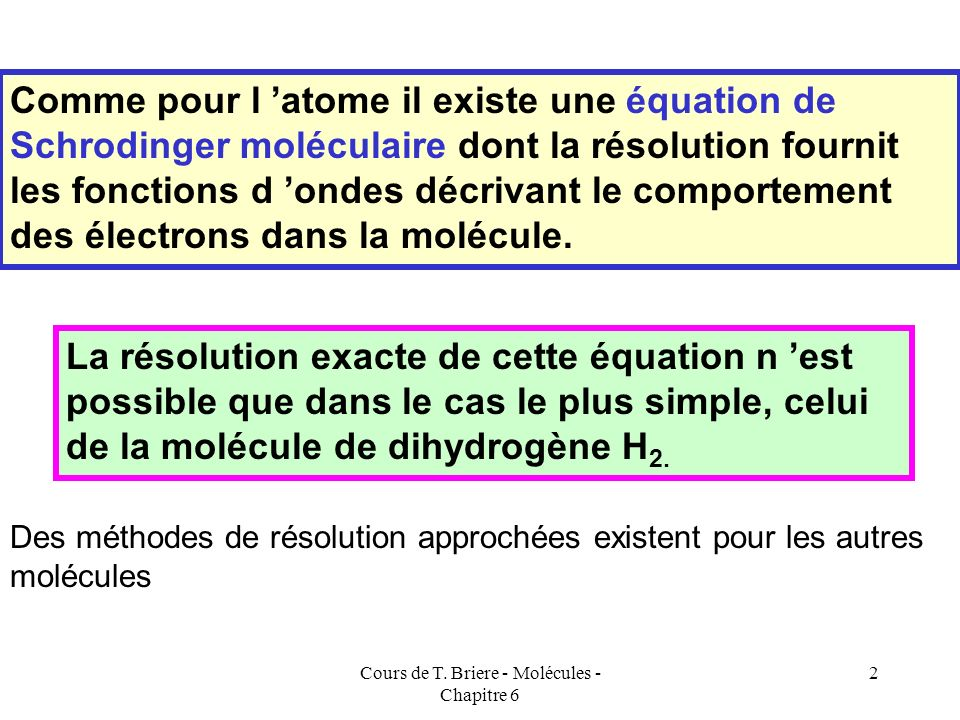 Cours de T. Briere - Molécules - Chapitre 6 1 LA LIAISON CHIMIQUE DANS LE MODELE QUANTIQUE sp p p p p Recouvrement latéral H H C C H H Molécule d'Acét